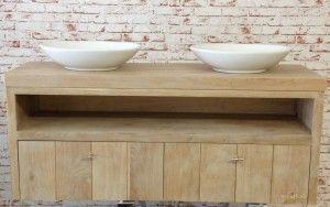 Mooie Badkamermeubel Lades : Mooi eiken badkamermeubel met softclose lades en witte ovalen