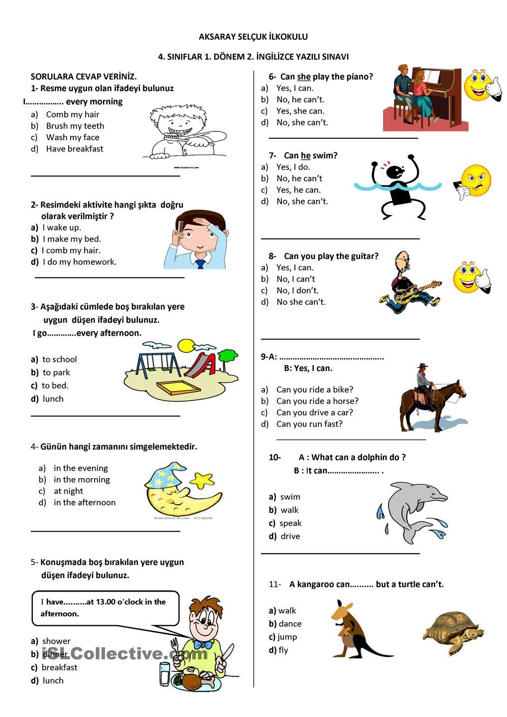 Worksheet For 4th Grades English exam, Teaching english