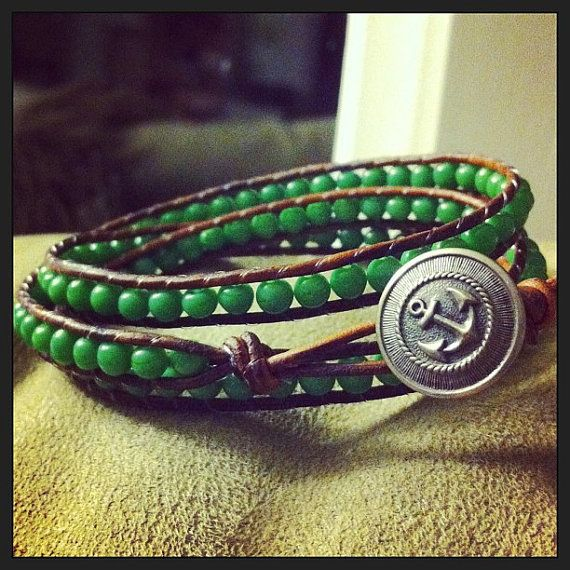 Triple green leather wrap on Etsy, $46.00