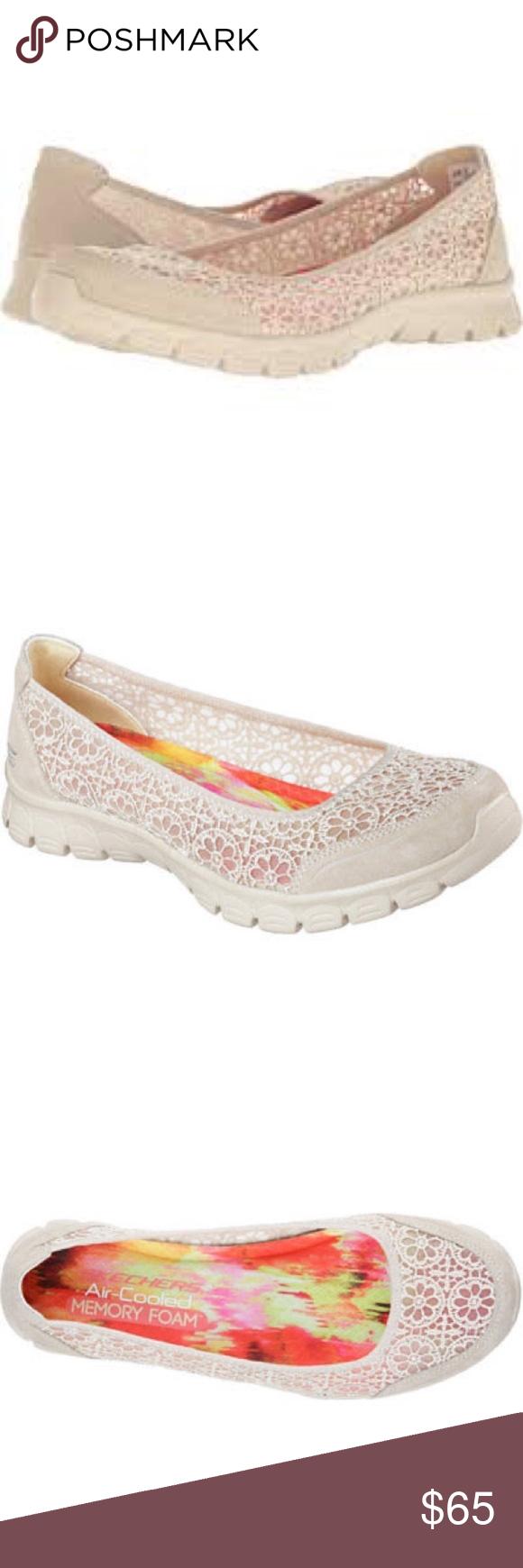 Skechers Cream Lace Memory Foam Ballet