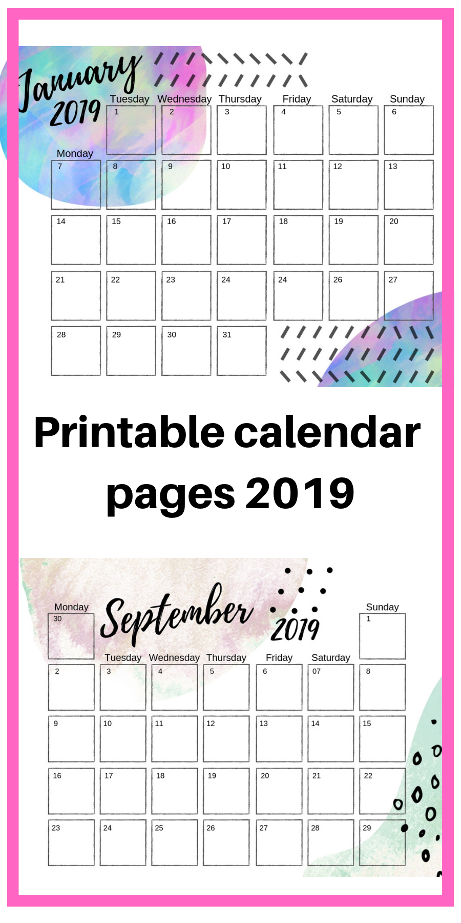 2019 Calendar January With Center Seam 2019 Groovy Art Printable Calendar Pages for your Bullet Journal