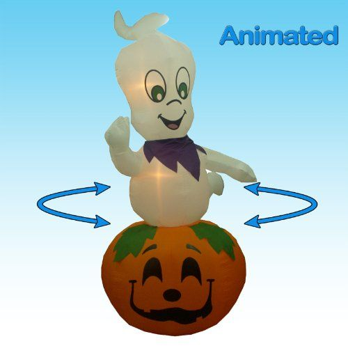 Jumbo 9 Foot Animated Halloween Inflatable Ghost on Pumpkin Yard - animated halloween decorations