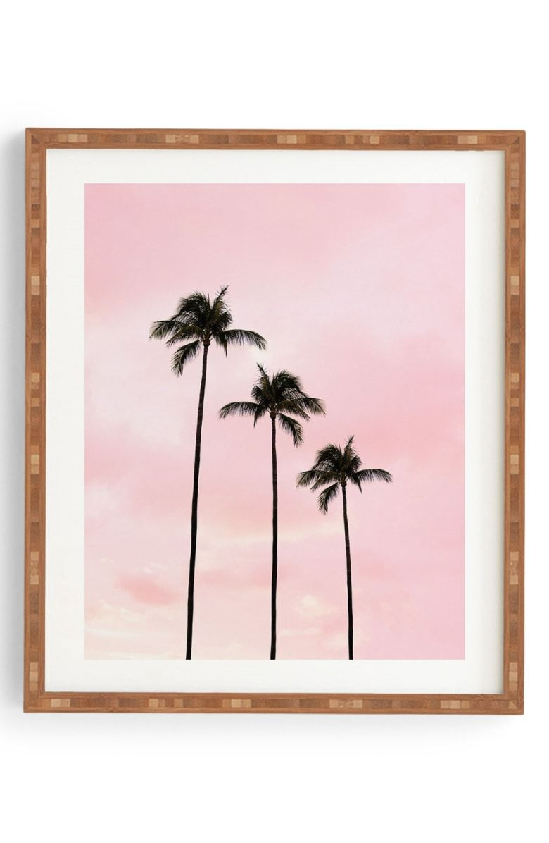 DENY DESIGNS Palm Trees & Sunset Framed Wall Art Main color PINK