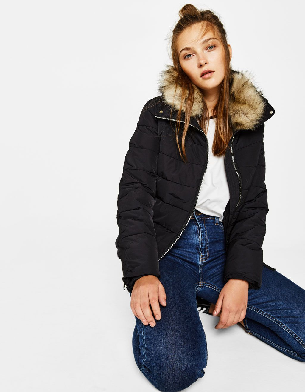 Puffer Jacket With Funnel Collar Coats Bershka United Kingdom Leather Jackets Women Jackets Clothes [ 1313 x 1024 Pixel ]