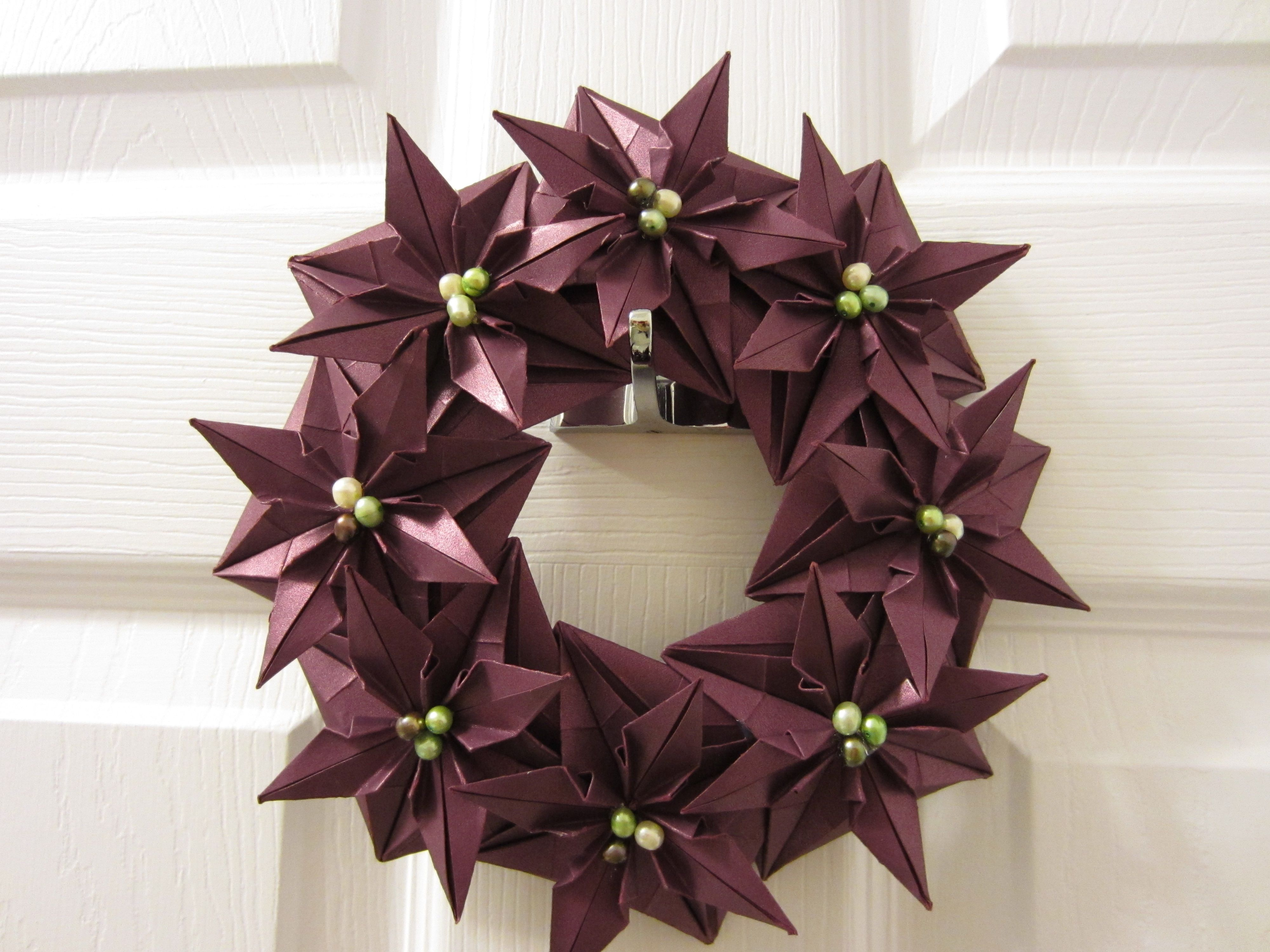 origami flower floral wreath decoration poinsettia paper Christmas