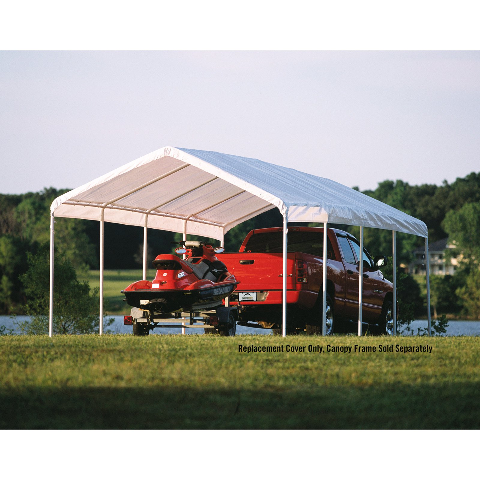 Shelterlogic 12 X 26 Ft Canopy Replacement Cover For 2 In Frame White Canopy Canopy Patio Canopy