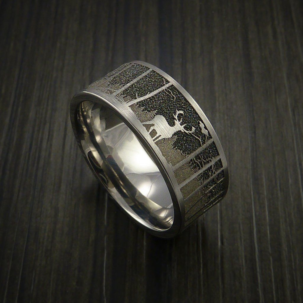elk in the woods hunter wedding ring cobalt chrome band | elk