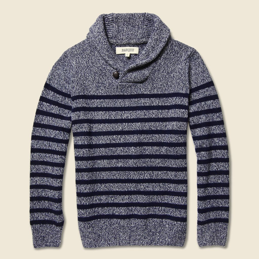 Marbled Yarn Striped Pullover - Charcoal