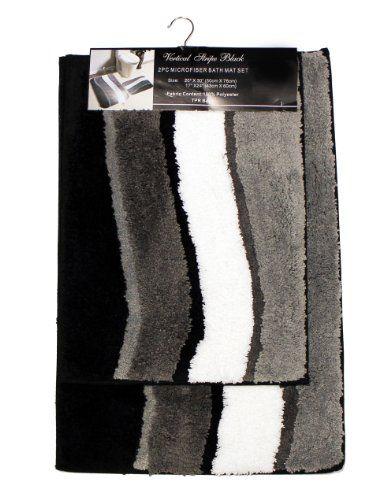 Piece Microfiber Bath Rug Set Vertical Stripe Bathroom Rug And - Gray contour bath rug for bathroom decorating ideas