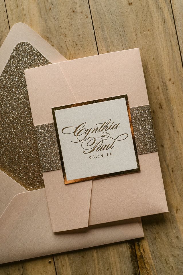 LAUREN Suite Glitter Pocket Fold Package, blush and gold, gold ...