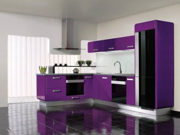 High Quality Modern Minimalist Kitchen Interior Design With Purple Accents