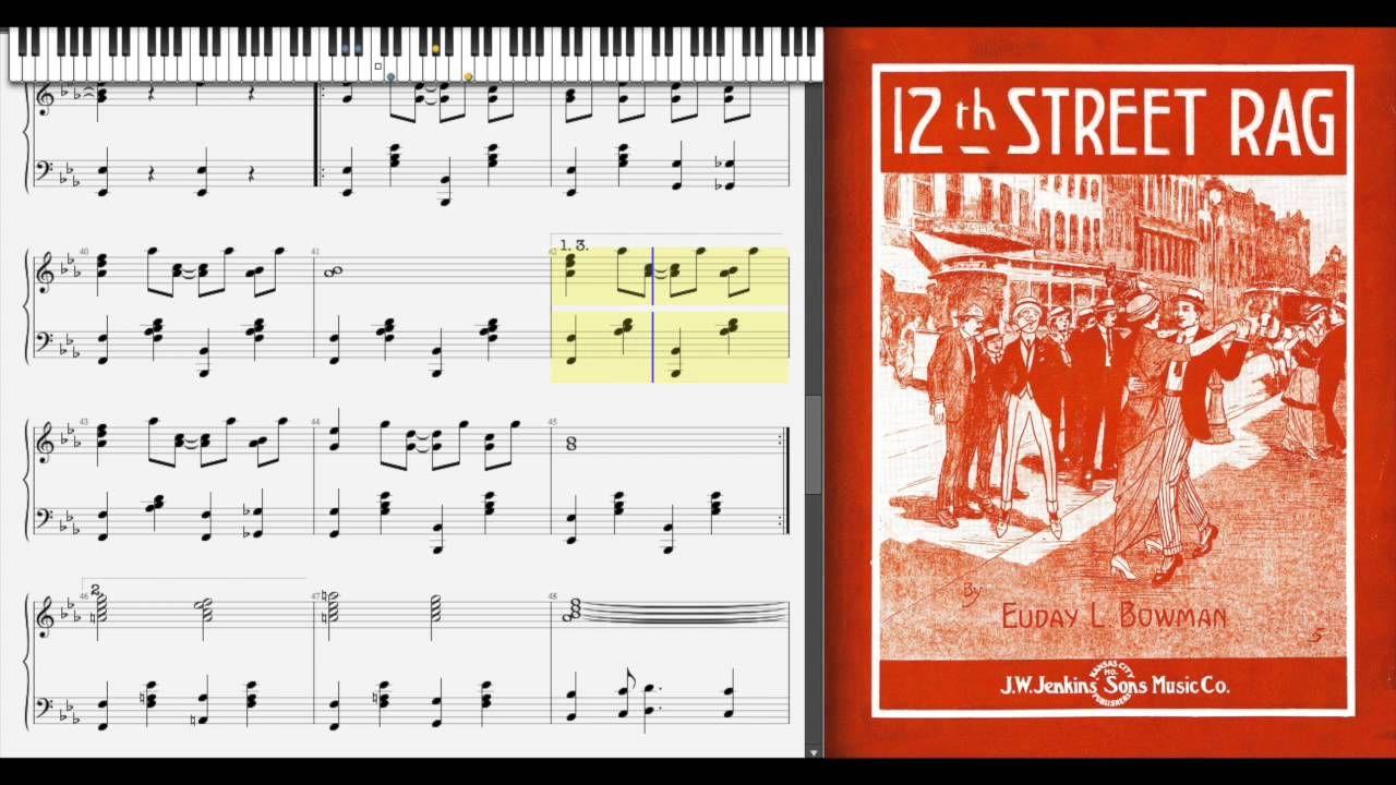 12th Street Rag By Euday Bowman 1915 Ragtime Piano Texas Musicians Bowman Piano