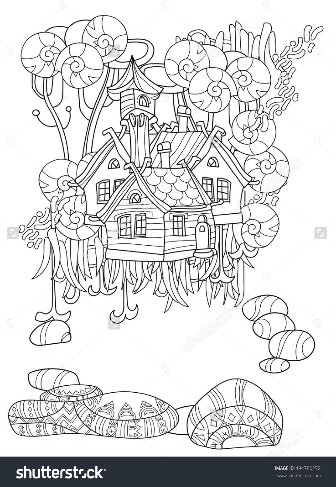 Coloring page umbrella raindrops - Doodle Outline Magic Mushrooms With Floral Ornaments Zen Art Adult Coloring