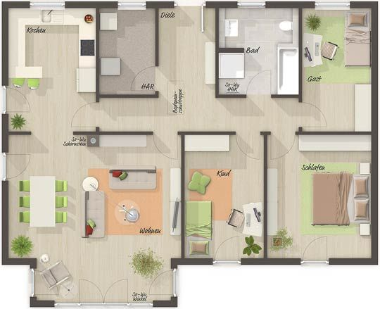 Der Bungalow 110 Grundriss Erdgeschoss Ihr Town