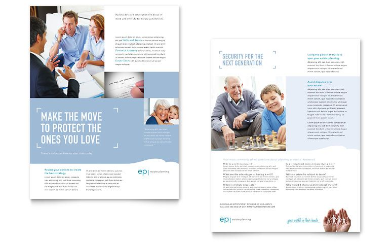 Estate Planning Datasheet  Word  Publisher Template  Print