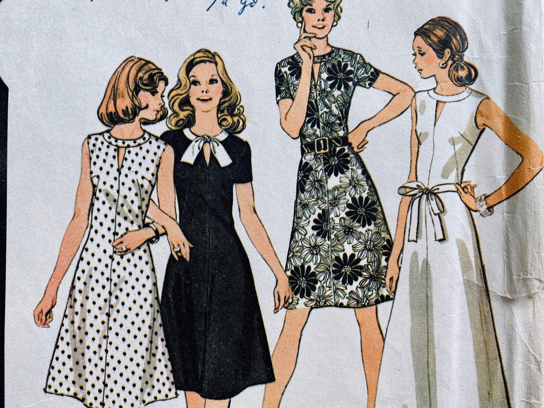 Vintage Peekaboo Neckline Sleeveless Or Short Sleeve Shift Etsy Dress Making Patterns Retro Fashion Vintage Dress Sewing Patterns [ 2250 x 3000 Pixel ]