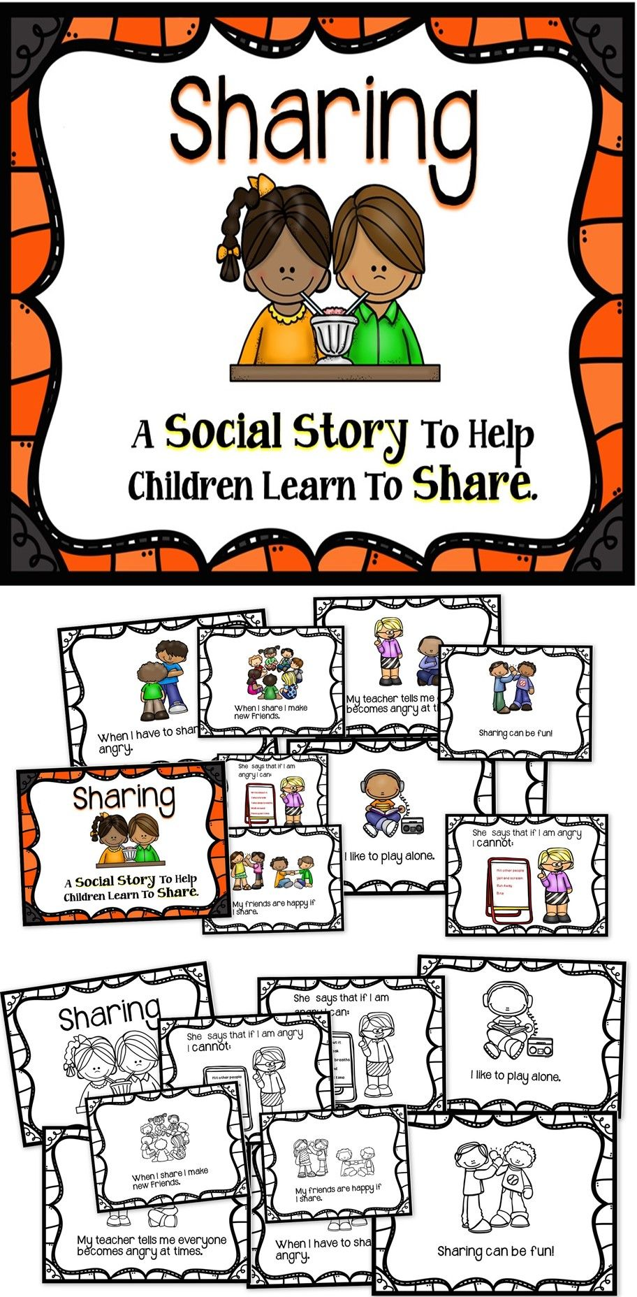 e721726163cfc This is a social story to help children learn how to share. This is an easy  to use no-prep educational resource.  education