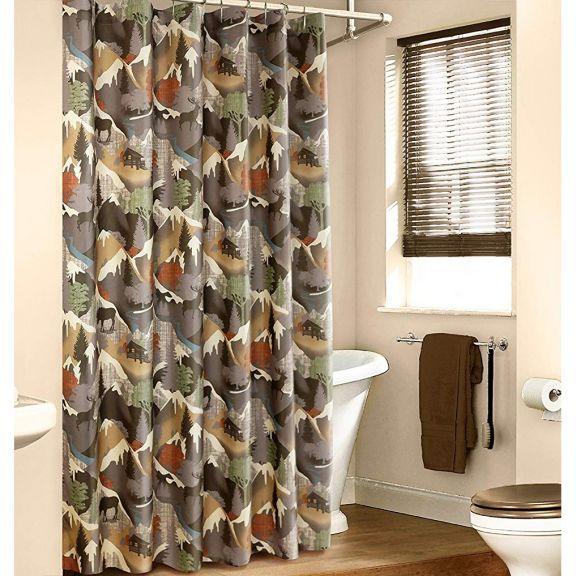 Veratex Mountain View Tan Fabric Shower Curtain Fabric Shower