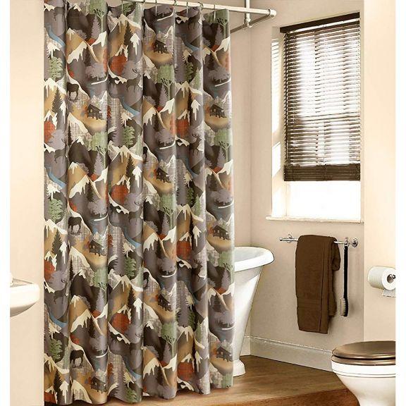 Veratex Mountain View Tan Fabric Shower Curtain Fabric Shower