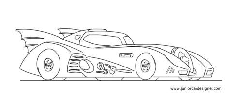 How To Draw The Batmobile With Images Cartoon Car Drawing