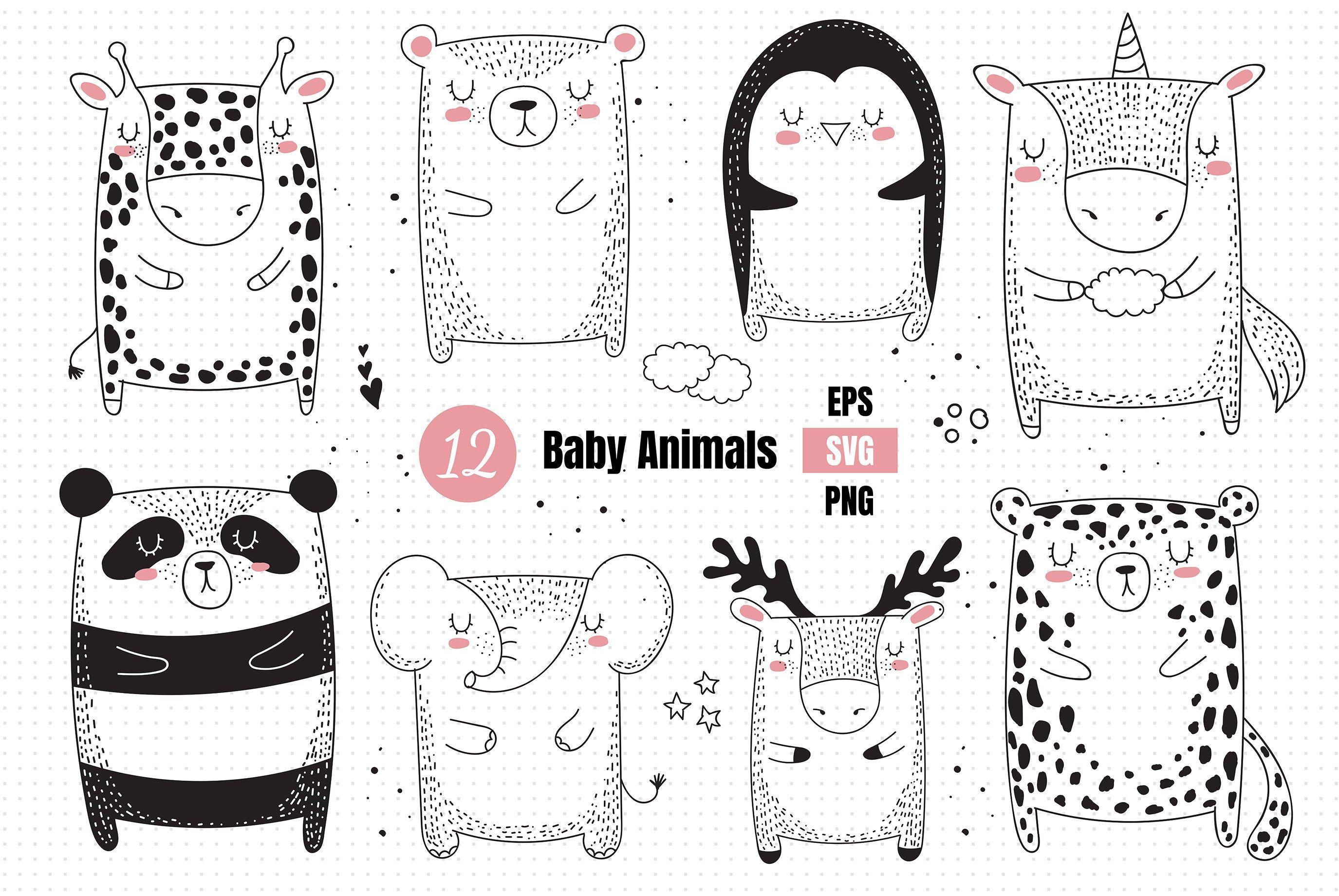 Baby Cute Animals Svg Woodland Animals Clipart Line Art Svg Etsy In 2021 Woodland Animals Clipart Cute Animals Minimalist Animal