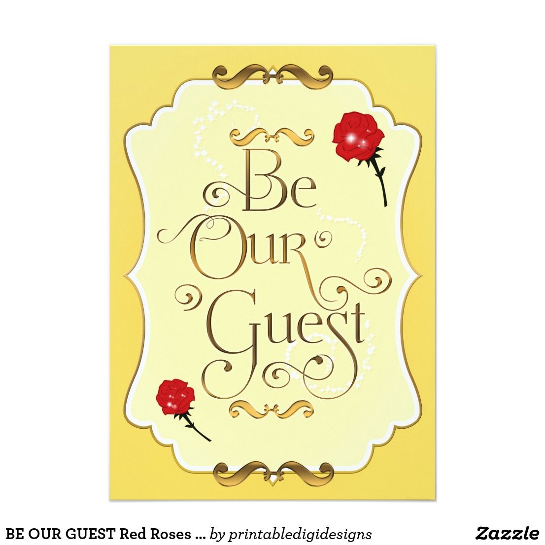 be our guest red roses elegant event party invitation in 2018