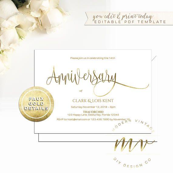 Anniversary Invitation Template 5x7 Horizontal White Gold