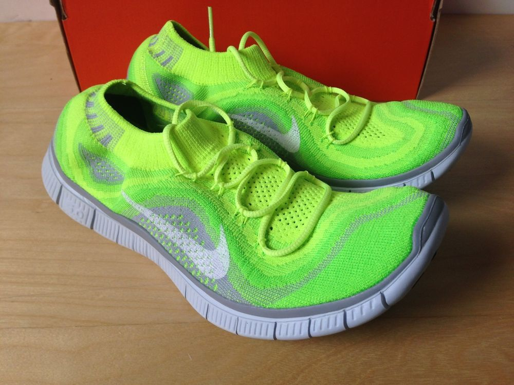 new concept f2999 d559d Nike FREE Flyknit + 5.0 Running Shoes Mens 9 615805 713 Volt Green Grey