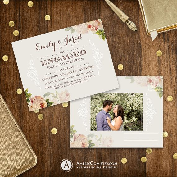 Printable Engagement Invitation Rustic Engaged party Engagement - free engagement invitation templates