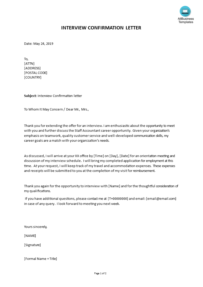 How To Write An Interview Confirmation Letter An Easy Way To Start Is To Download This Sample Interview Confirmation L Confirmation Letter Lettering Templates