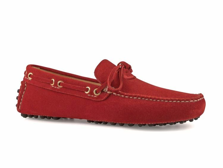 Car Shoe men's Bright Red Suede loafers shoes - Italian Boutique ...