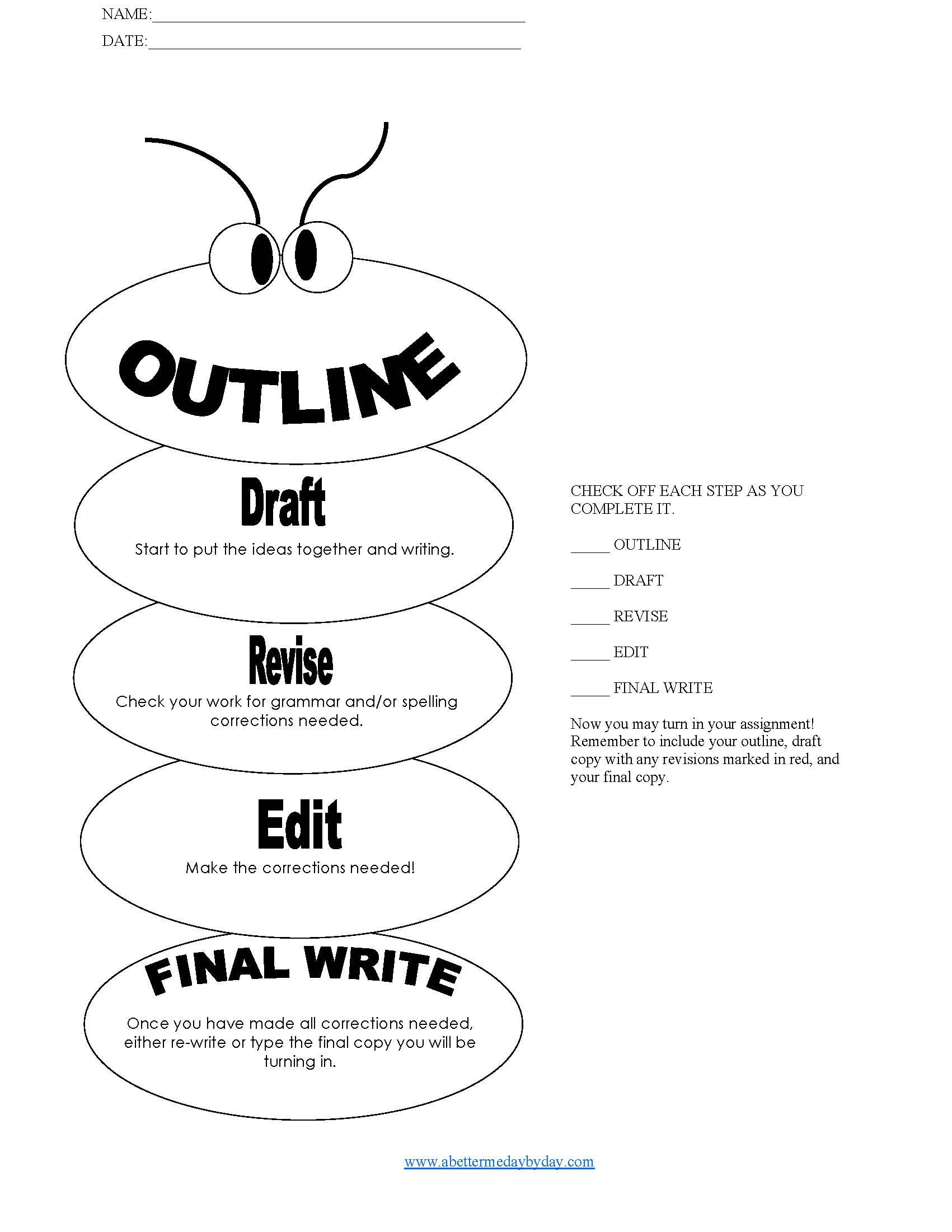 Writing Process Writing Outline Writing Process Checklist Essay Writing