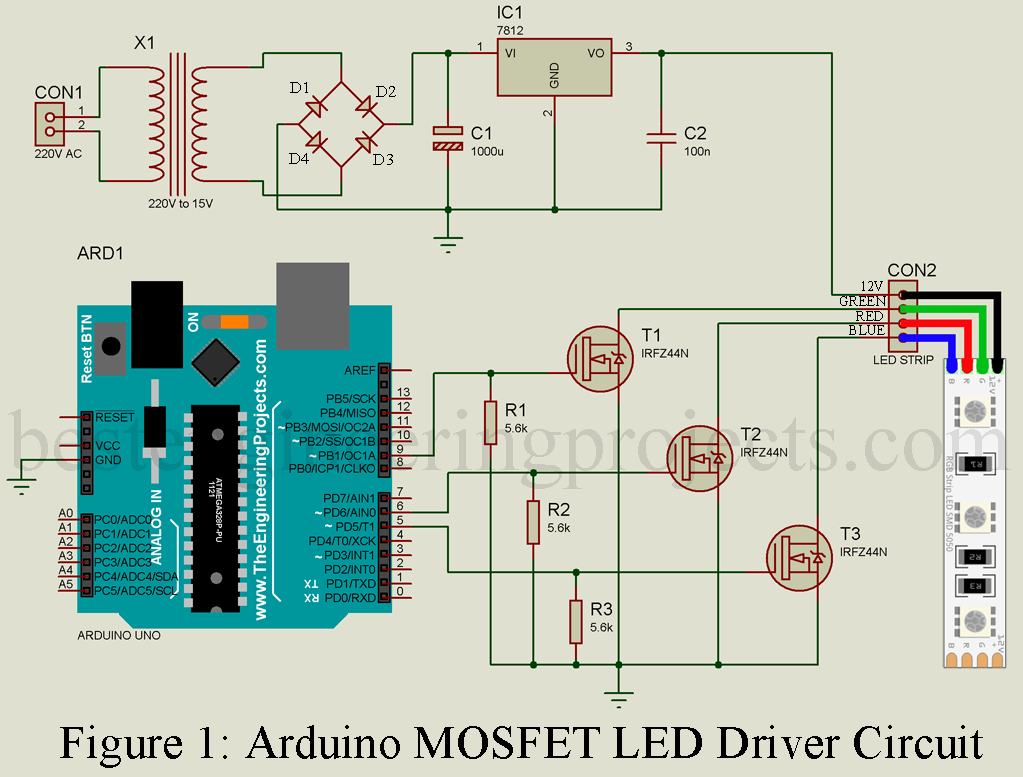 Arduino Mosfet Led Driver Circuit Arduino Led Arduino Arduino Projects