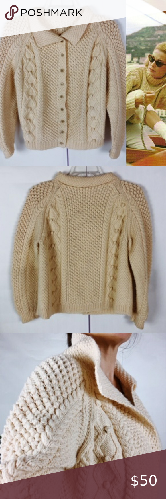 Vintage Hand-Knit Fisherman Cardigan Sweater Vinta