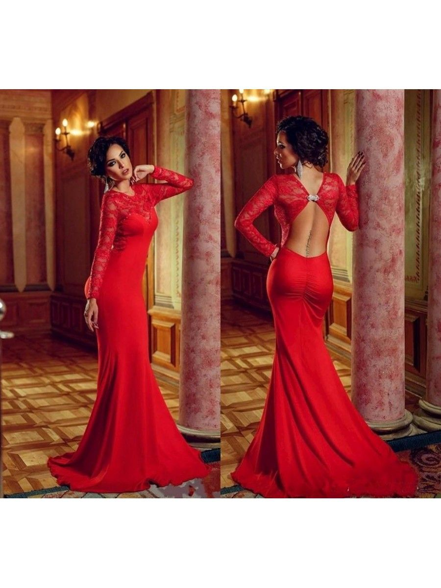 Long red lace chiffon long sleeves mermaid prom formal evening