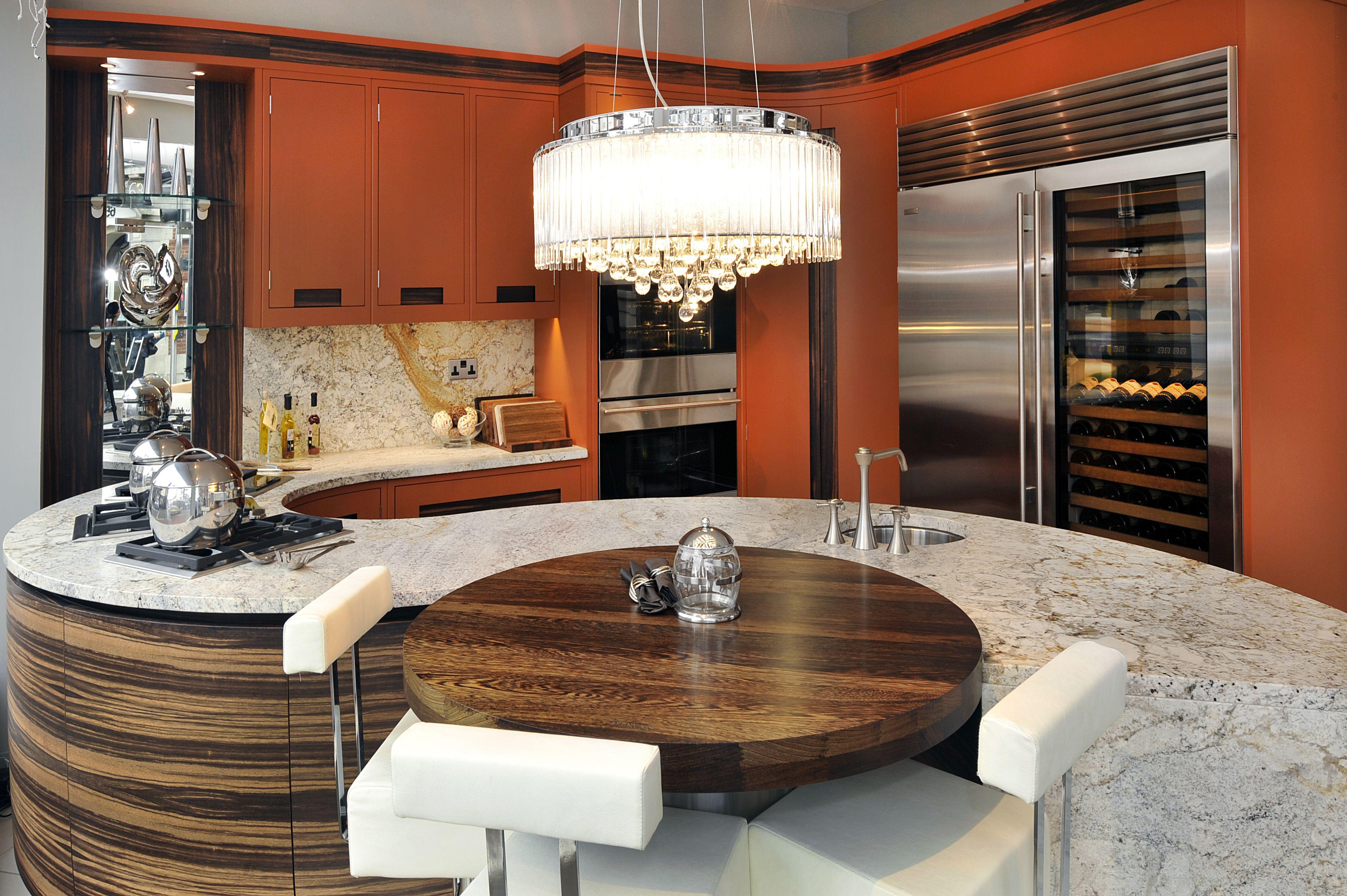 Gerrards Cross Kitchen Showroom. Curved kitchen island & bespoke ...