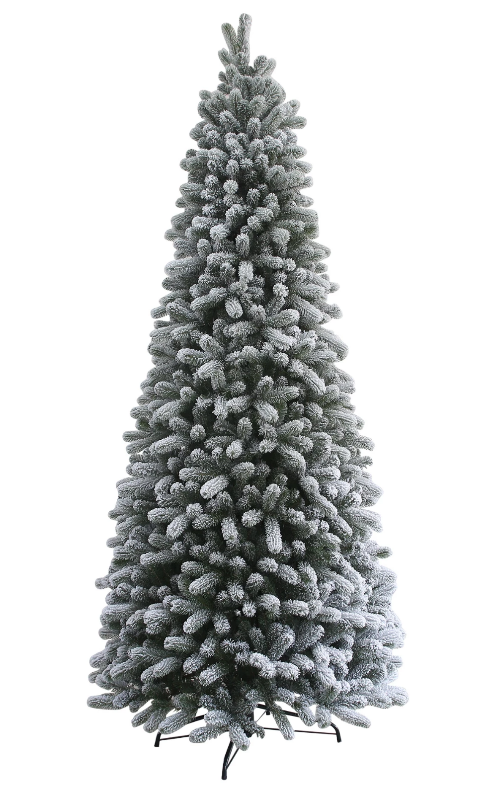 12 King Flock Slim Quick Shape Artificial Christmas Tree With 1250 Warm White Led Lights Slim Artificial Christmas Trees Slim Christmas Tree Flocked Artificial Christmas Trees