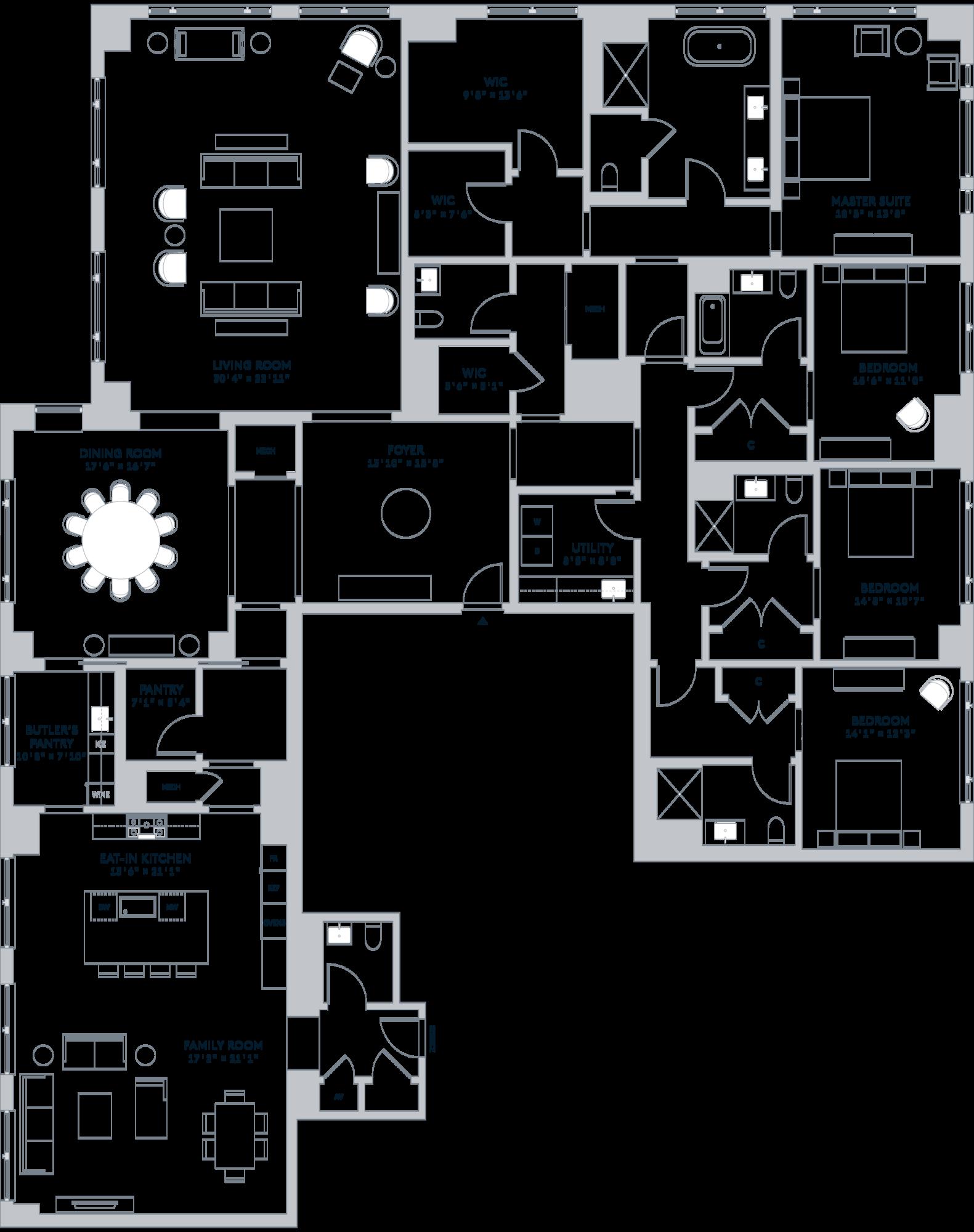 One Bennett Park Chicago Residence 5509 5130 Ft 476 M House Layout Plans Apartment Floor Plans Small House Floor Plans