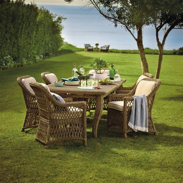 Our Hampton Dining Collection has a relaxed, southern attitude, intricately handwoven in driftwood-weathered resin wicker. You'll enjoy al fresco meals     more as you unwind in thickly cushioned dining chairs. The smoothly woven rectangular table comfortably hosts up to six guests.             Handwoven premium resin wicker                 UV-protected, antimicrobial                 Rust-resistant powdercoated frames        Cushions included    100% solution-dyed and woven fabrics     Al...