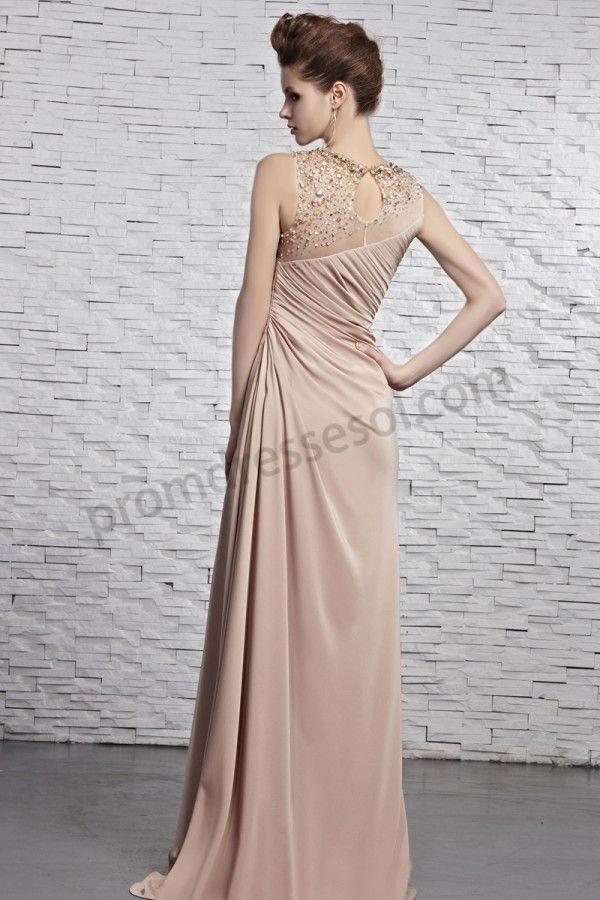 Light Brown Beaded round neck sleeveless Floor Length Prom dress ...