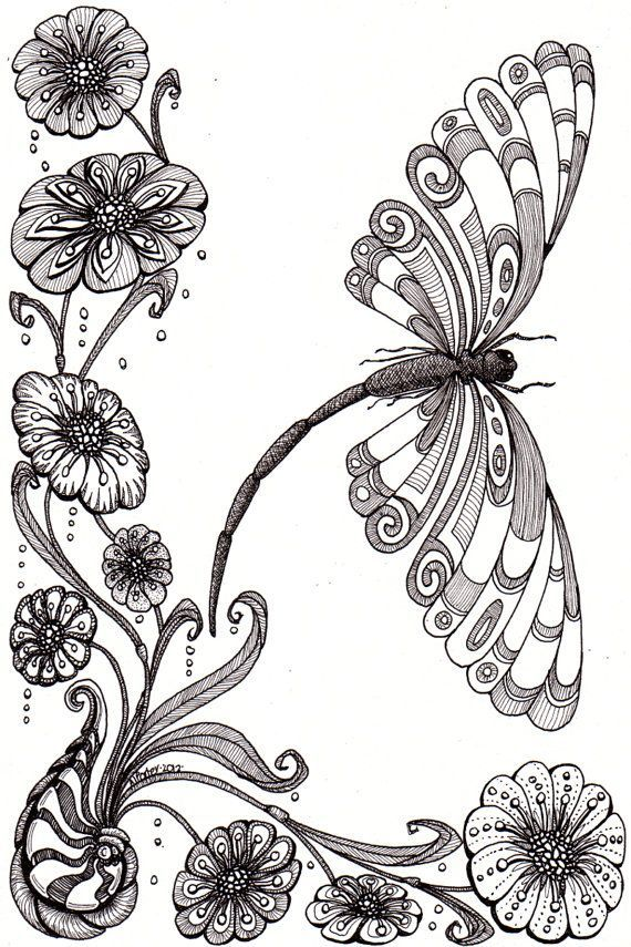 Dragonfly and shell. Beautiful and original whimsical abstract ...