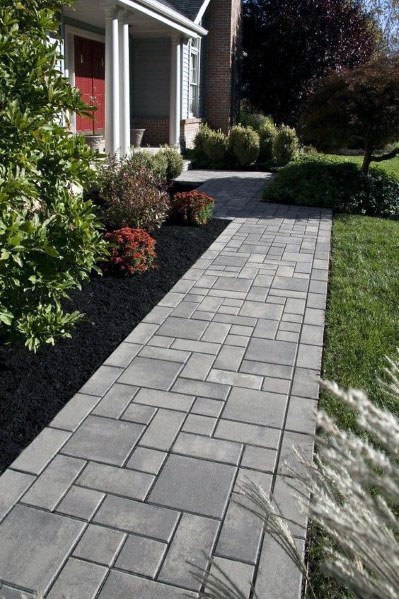 Top 50 Best Paver Walkway Ideas  Exterior Hardscape Designs is part of Walkway landscaping, Pathway landscaping, Front yard walkway, Backyard landscaping, Patio landscaping, Small patio garden - From ornate patterns to simple stone styles, discover the top 50 best paver walkway ideas  Explore unique exterior hardscape designs for your yard