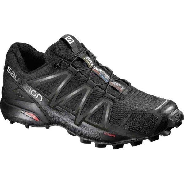 Salomon Speedcross 4 Wide – Mens Trail Running Shoes – Black/Black Metallic  | Trail running shoes, Running and Gym