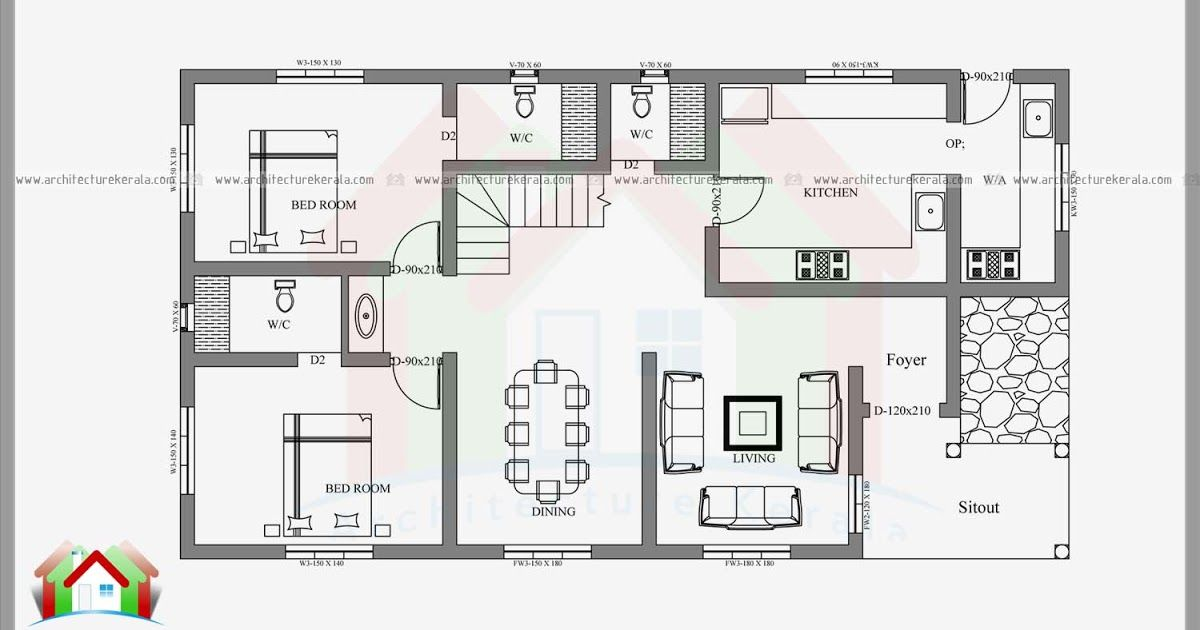 2400 Square Feet 4 Bedroom House Plan And Elevation Can Construct In 3 5 Cent Or 4 Cent House Plo Bedroom House Plans Four Bedroom House Plans Model House Plan