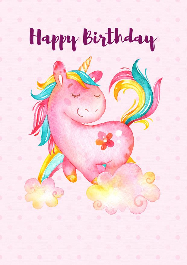 Unicorn happy birthday -£H ☆Unicorns \ Rainbows☆ Pinterest - birthday cards format