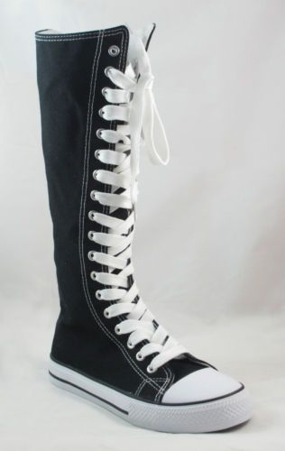 Ladies Knee High Top Punk Lace Up Canvas Boot Tennis Shoe Sneaker