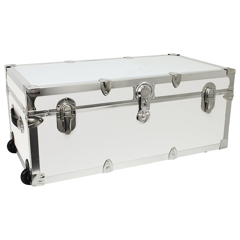 Amazon.com | Seward Trunk Footlocker Trunk with Nickel Trim, White, 30-Inch (SWD7130-00) | Packing Organizers