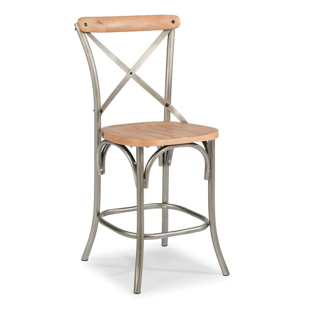 Homestyles French Quarter 24 In Aged White Wash Natural Bar Stool