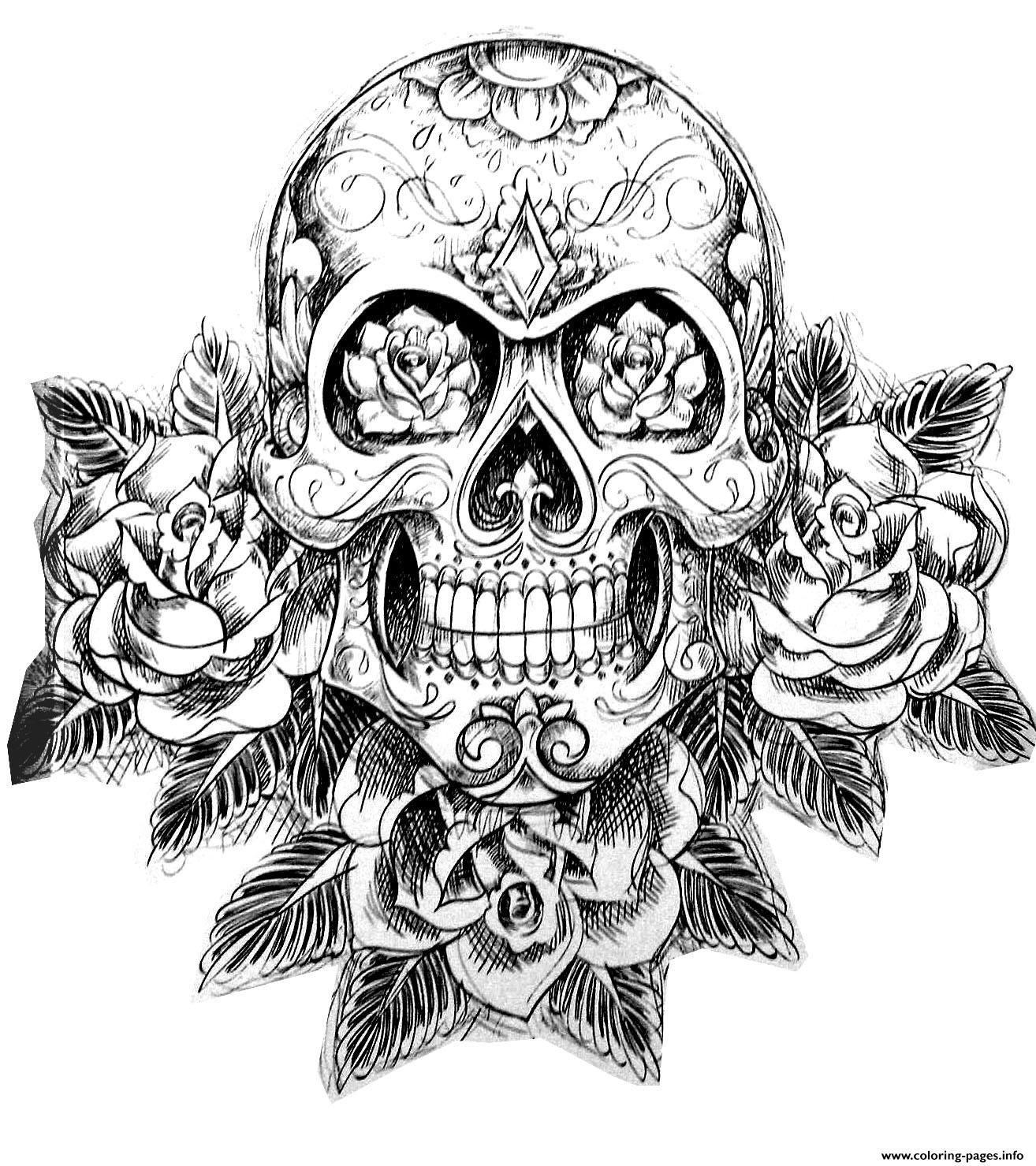 Print sugar skull tatoo hard adult difficult Coloring