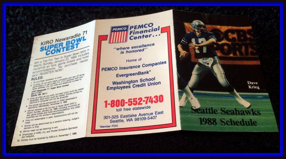 1988 SEATTLE SEAHAWKS PEMCO FOOTBALL POCKET SCHEDULE FREE